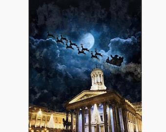 Santa's sleigh over Glasgow - LIMITED EDITION PRINT