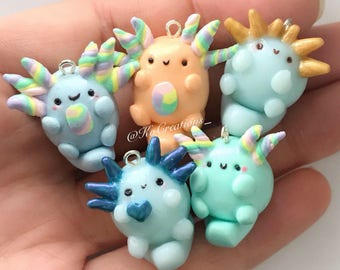 Axolotl Adoptables, Kawaii Pastel Polymer Clay Charms Rainbow, Gold, and Color shift blue, Miniature Chubby Animals