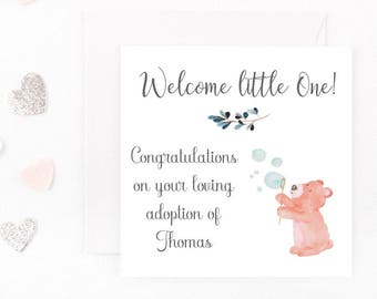 Adoption Card, Personalised Adoption Card, New Family, New Baby Boy, New Addition Card, Welcome Card, New Parents Any Wording, Handmade Card