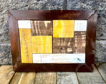 """Reclaimed, Pallet Art, Pallet Wood, Pallet, Reclaimed, Distressed, Home Decor, Wyoming Cowboys, Framed Art, Pokes, Wyoming, """"Wyoming Mosaic"""""""