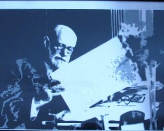 Sigmund Freud. Stencil on cardboard