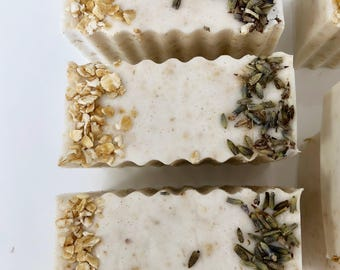 Lavender oatmeal shea butter soap bar. Exfoliating and cleansing. Handmade gift, Christmas, birthday, anniversary, Valentine's Day, party