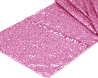 Pink Sequin Table Runner Fancy Wedding Table Setting Boho Dinnerware Cloth Sparkly Wholesale Sequin Baby Shower Bridal Glitter Pink Runner