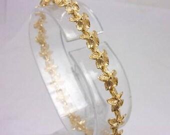 "Solid 14K Yellow Gold Plumeria Link Bracelet, 6.5"", 7.8mm, 9.0 grams, Flower"