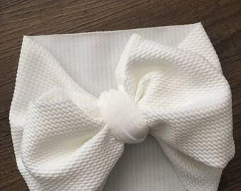White stretchy fabric headwrap, baby headwrap, toddler headwrap, stretchy headwrap, pre tied headwrap, toddler bows, newborn headwrap