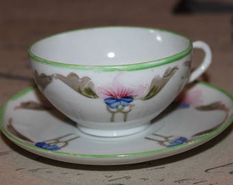 Hand painted Japanese teacup and saucer