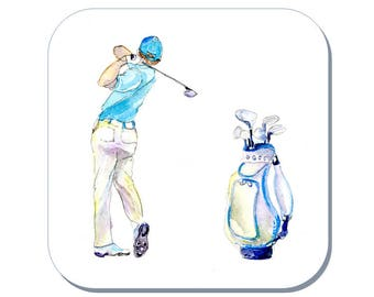 Golf Swing - Golfing Coaster, Gentlemen's Golf (Corked Back). From an original Sheila Gill Watercolour Painting