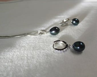 silver black pearl set