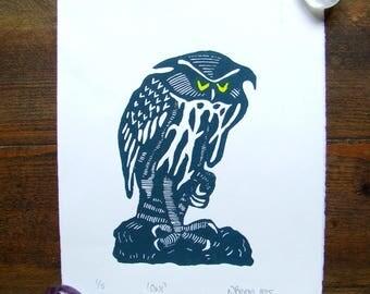 Owl linocut bird art linocut wildlife print wall art