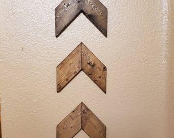 Wood Chevron Arrows- set of 3. Wood Arrow Wall Art. Chevron Home Decor. Farmhouse Wood Chevron Arrows. Rustic Wood Chevron Arrows