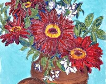 "Original artwork ""Gerberas"" Mixed media on A3 watercolour paper, flowers, red"