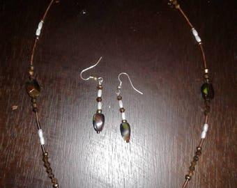 Earthy tone necklace & earrings