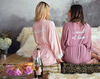 Bridal Party Robe | Bridesmaid Gifts | Personalized Robe | Maid of Honor Robe | Cotton Lace Robes | Wedding Robe | Bridal Shower Gift