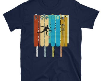 Vintage Style Disc Golf Silhouette T-Shirt Gift Tee