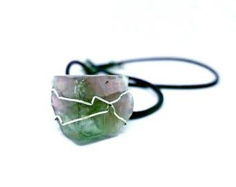 Wire Wrap Crystal Necklace -  Pyramid Design