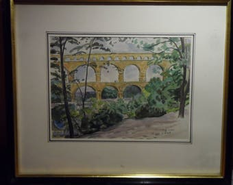Watercolor of PAUL EMILE COLIN (1867-1949) the pont du gard aqueduct signed art