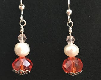 Handmade Silver Wire Earrings with Orange and White Beads