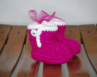 Pink Sparkle baby crochet booties 0-3 months