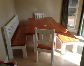 Douglas Fir sunroom french country dining set finished with White color accent.