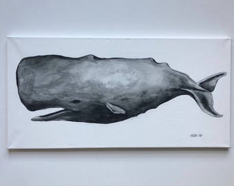 Black and White Sperm Whale, Original painting
