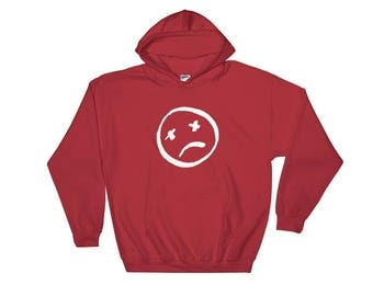 White smiley face Hoodie (Royal Red)