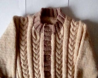Two tone boys cardigan cable front