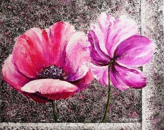 "Acrylic painting ""Anémones"" acrylic board Anemone"