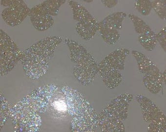 1 Inch Clear Rainbow Glitter Butterfly Fairy Wing Sticker, Planner Stickers, Party Stickers, Invites Decoration, Card Making
