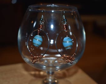 Blue Glass Bead Earrings with Copper Wrapping
