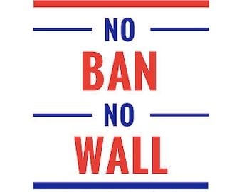"Protest Sign ""No Ban No Wall"" Digital Download Printable"