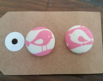 Fabric Pink/Cream Bird Stud Earrings