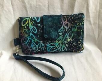 Blue multi-color batik fabric wallet/Wristlet clutch/ phone wallet