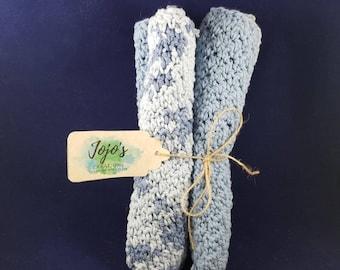 Crochet washcloths, cotton washcloths, light blue and white washcloths, handmade, kitchen dishcloths