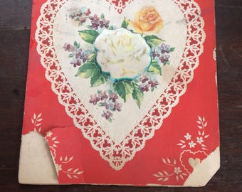 Scrapbook 1950s Era Tatteres Bd Torn Valentine Day American Greeting Card To My Husband