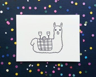 Alpaca Picnic - Greeting Card, Handprinted, Pun Card, Alpaca Card, Llama Card, Valentine's Day Card