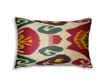 Small Cotton Uzbekistan Genuine Ikat Cushion with Zip