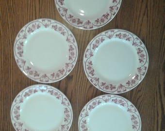 5 Mcnichol dinner plates pink, Valentine's Day