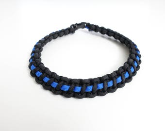 Thin Blue Line Paracord Dog Necklace