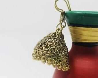 Gold Earrings, antique earrings, dangle earrings, Indian Jewellery, Asian jewelry, Tribal earrings, Triangle earrings, Simple gold earrings