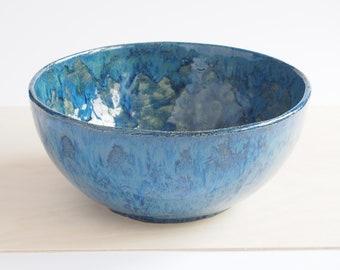 Handmade ceramic bowl, ceramic bowl, blue bowl, decorative bowl, handmade pottery, ceramic dish, housewarming gifts, home decor, salad bowl