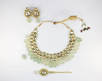 Kundan Necklace and Tikka Earrings With Natural Quartz Stones