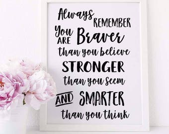 You are braver A4 Print