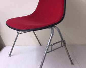 Herman Miller Chair - Red Seat, Black Shell, School Base - Mid Century Modern