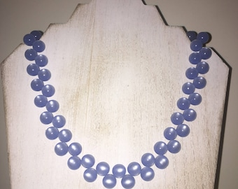 Vintage-Style Sky Blue Moonglow Beaded Necklace (18 inches)