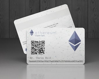 Plastic Ethereum Crypto Card personalised with your unique ETH address.