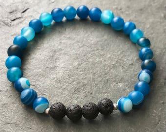 Essential Oil Diffuser Bracelet | Lava Bead Bracelet | Blue Agate