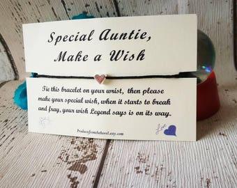 Make a Wish Bracelet, Wish Bracelet, Friendship Bracelet, String Bracelet, Cord Bracelet, Auntie Wish Bracelet, Gift for her, Wax cord