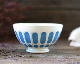 """French antique bowl. French bowl """"Café au lait"""". Digoin Sarreguemines. Collector bowl. Faience bowl. Blue bowl Digoin. Blue stripes bowl."""