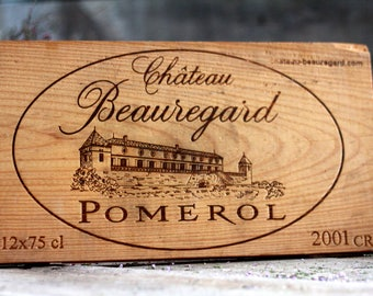 French wine crate front POMEROL. Wine of Bordeaux. Vin de Bordeaux. Grands vins de Bordeaux. French wine panel. MEDOC. Wine decor