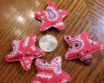 Cute Padded Applique Bandana Stars 12 Pieces for sewing/doll making/hairbow/scrapbooking/crafts, etc.